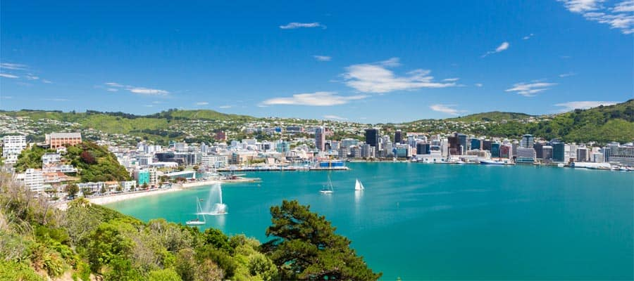 Blue waters of Wellington on a New Zealand cruise